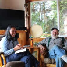 Regina Kong interviews community members for the Inian Islands Institute