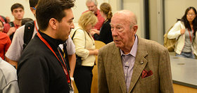 George Shultz with students